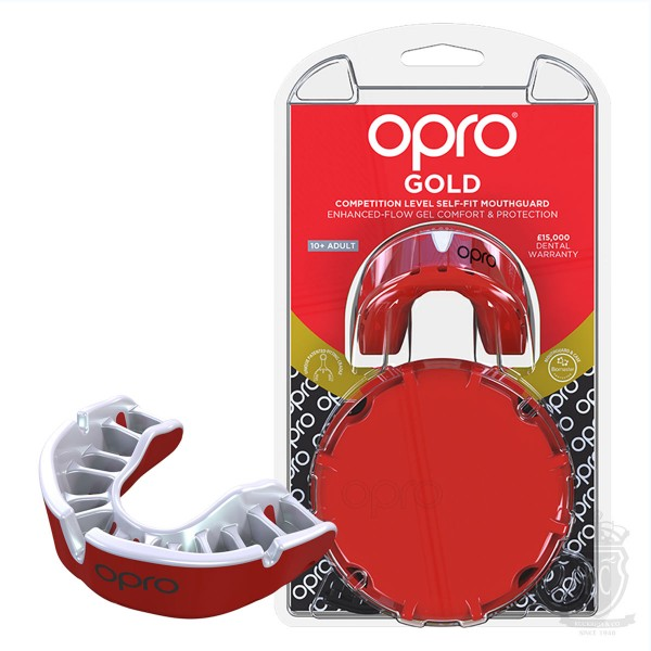 OPRO Gold Self Fit Mouthguard Red\Pearl