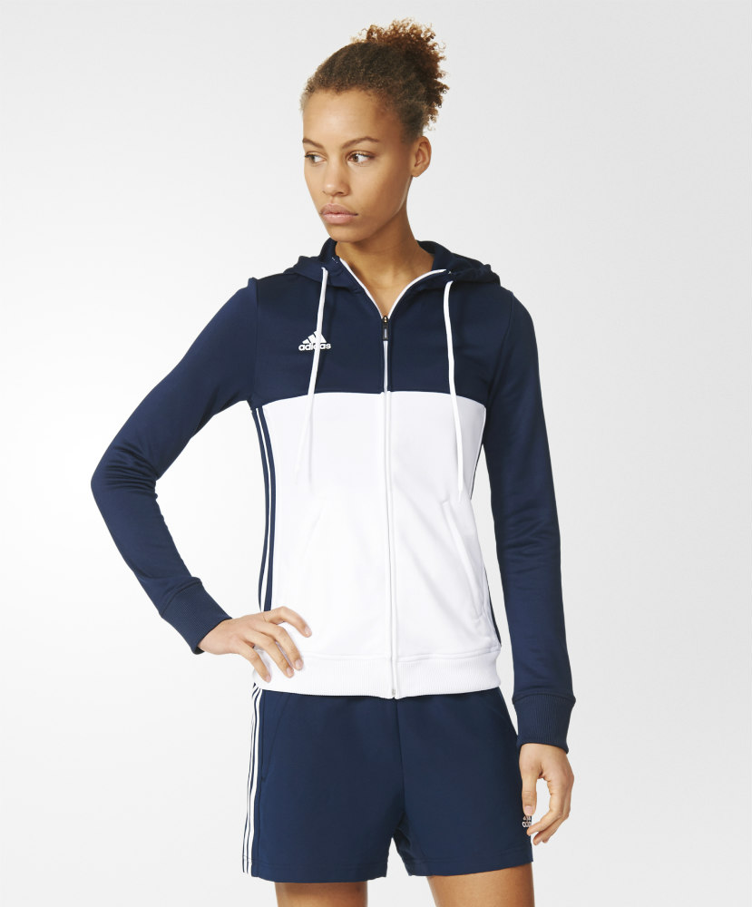 f4769437bb05 Adidas T16 Ladies Hooded Top NavyWhite